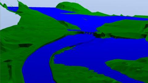 Modell mit Überschwemmungsflächen